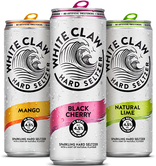 White Claw in Mango, Black Cherry and Natural Lime