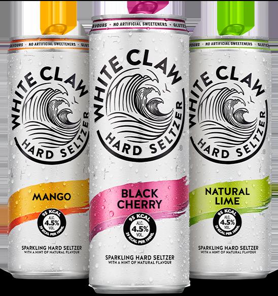 White Claw Hard Seltzer ist in Deutschland in den Geschmacksrichtungen Mango, Black Cherry und Natural Lime erhältlich