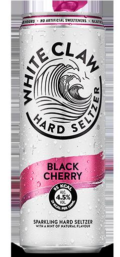 White Claw sparkling hard seltzer in Black Cherry flavour